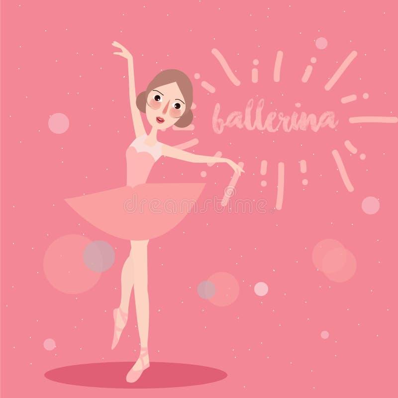Ballerinameisje die van de de kledingsdanser van de ballettutu het leuke roze dragen stock illustratie