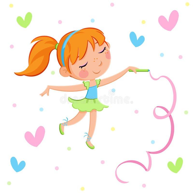 Ballerinaparti - förtjusande liten ballerinaflicka vektor illustrationer