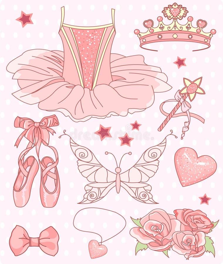 ballerinaprincessset royaltyfri illustrationer