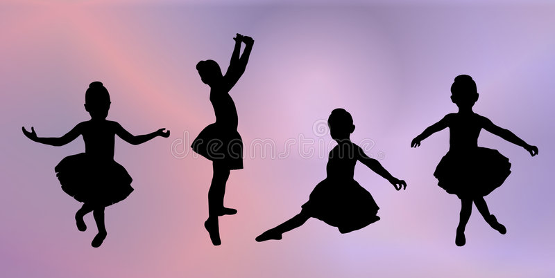 ballerinas little royaltyfri illustrationer