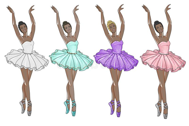 Ballerinas wearing tutu in different colors - dark skin tone ballerina stock illustration