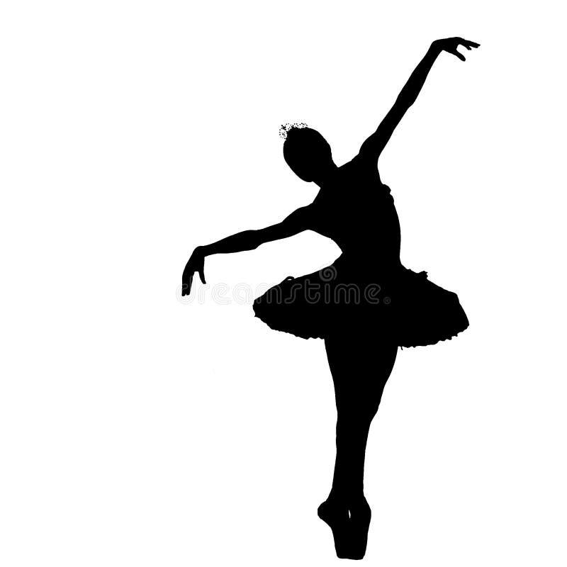 Ballerinaschattenbild stock abbildung