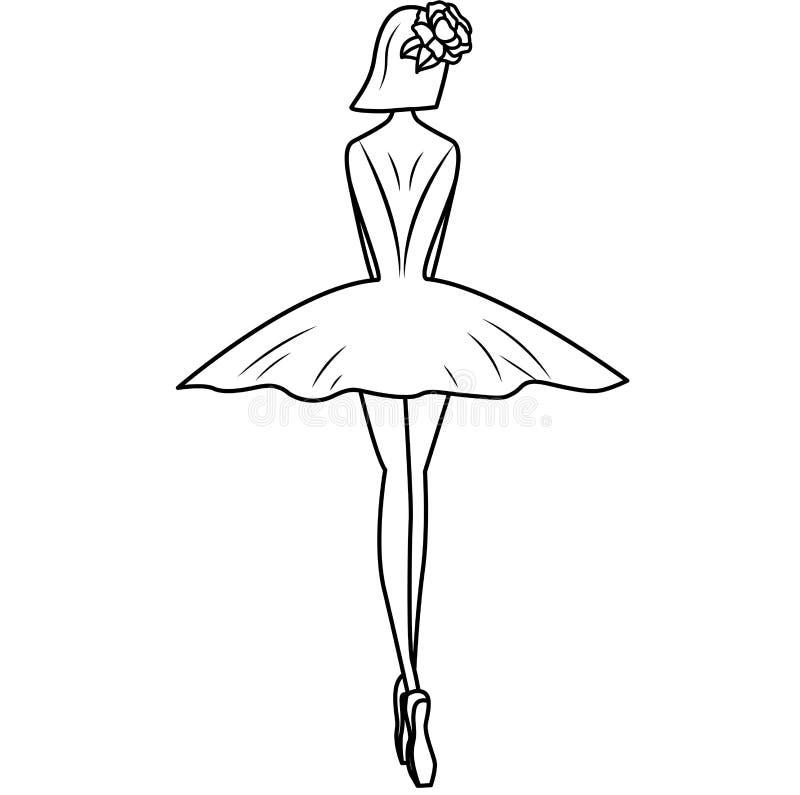 Ballerinasilhouet met bloemenhaarspeld Illustratie op witte achtergrond royalty-vrije illustratie