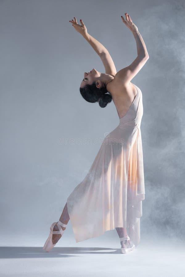 Ballerinatänzer der eleganten Frau lokalisiert auf grauem Hintergrund stockfotografie