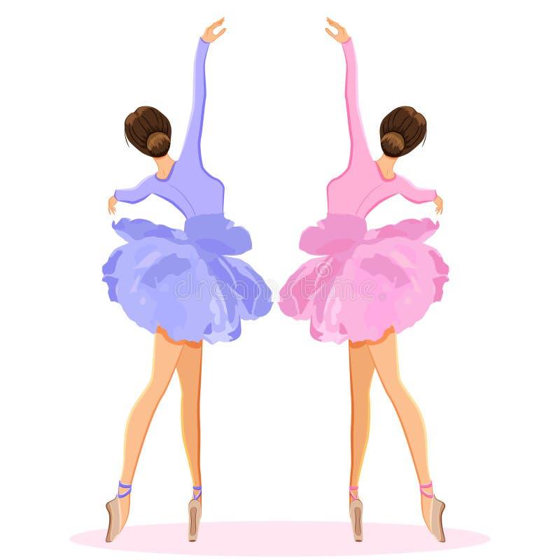 Ballerinatanzen auf pointe im Blumenballettröckchenrock-Vektorsatz lizenzfreie abbildung