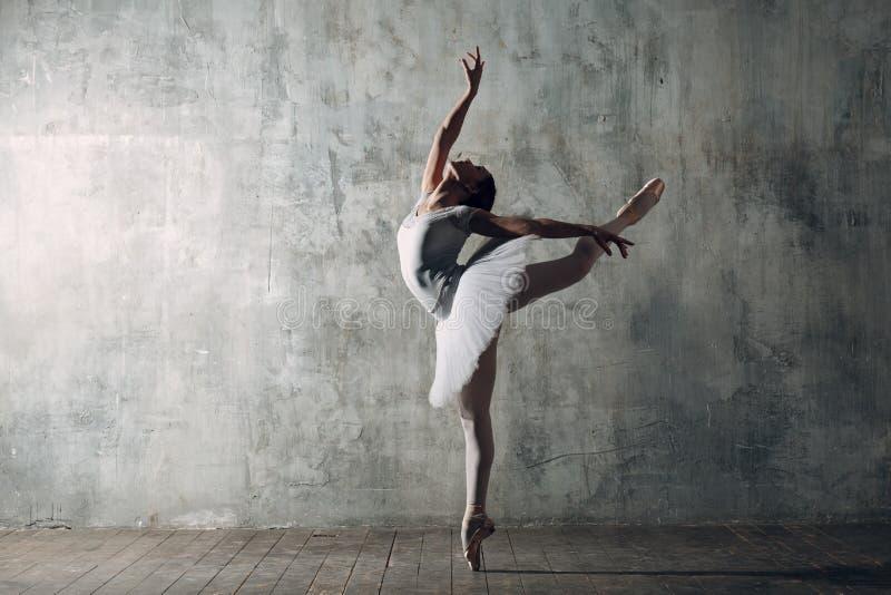 Ballerinawijfje De jonge mooie vrouwenballetdanser, kleedde zich in professionele uitrusting, pointe schoenen en witte tutu stock afbeeldingen