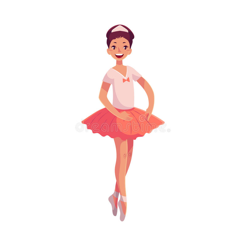 Ballerine assez jeune dans le tutu rose se tenant sur des orteils illustration libre de droits