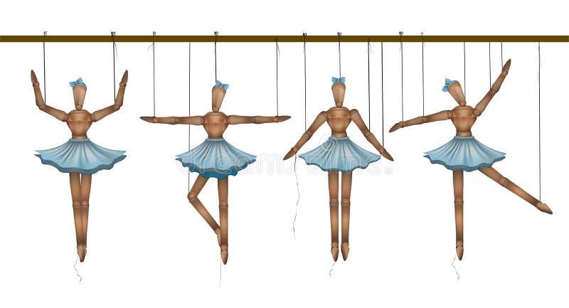 Ballerine concetto, insieme dei ballerini di legno della marionetta nelle pose differenti, illustrazione vettoriale