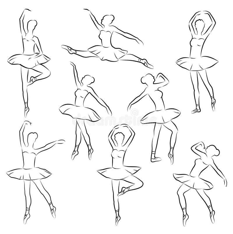 Ballerine d'ensemble de ballet illustration stock