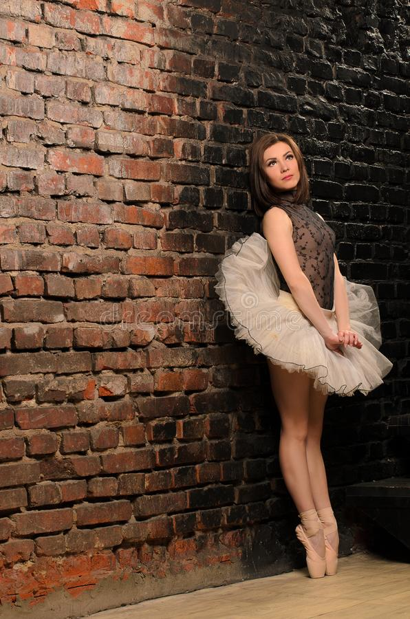 Ballerine dans des supports de classique de jupe de tutu photographie stock