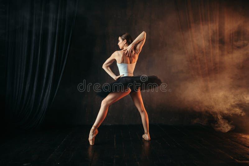 Ballerine dans l'action, formation de danse sur l'étape photo stock
