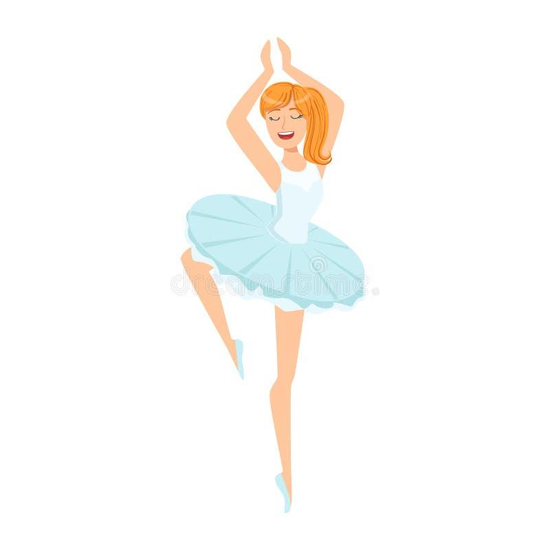 Ballerine dans la danse blanche de tutu dans le ballet, partie de personnes heureuses et leur collection de professions de caract illustration stock