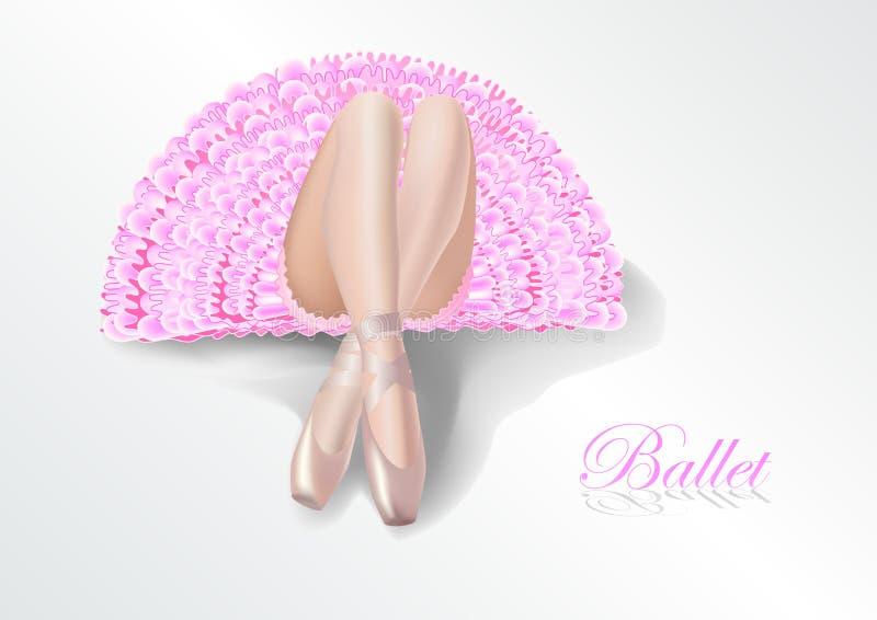 Ballerine dans un tutu rose se trouvant sur le plancher Ses jambes dans le pointe en soie dans le premier plan illustration de vecteur