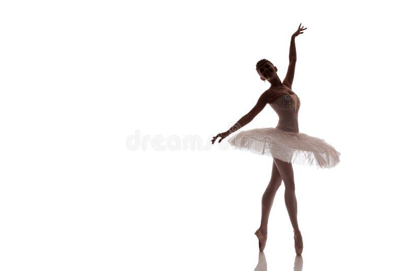 Ballerine de femme dans le tutu blanc de paquet posant sur le fond blanc photos libres de droits