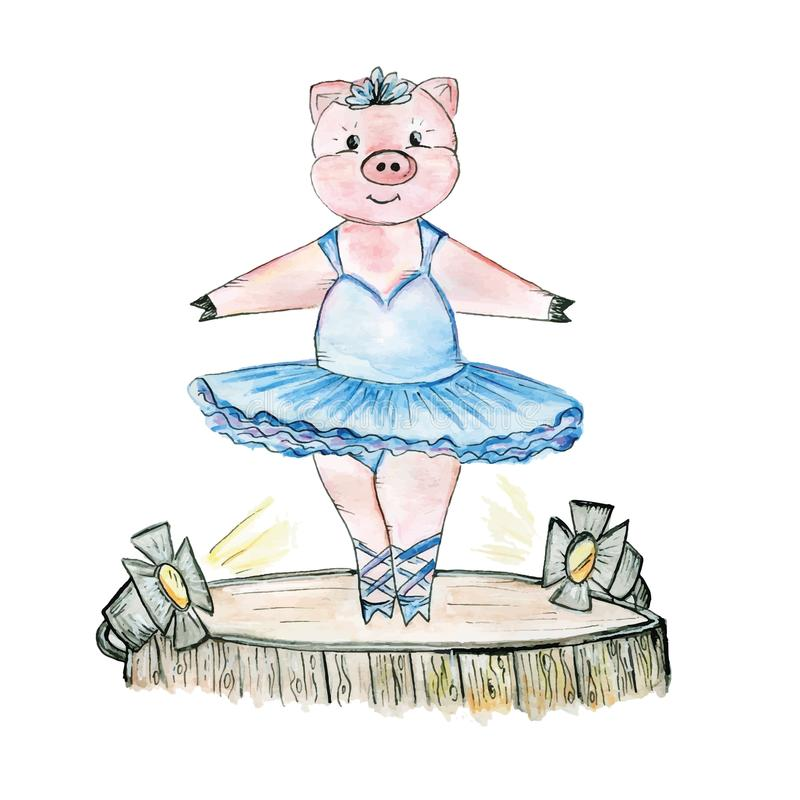 Ballerine de porc sur l'étape dessinée dans l'aquarelle illustration stock