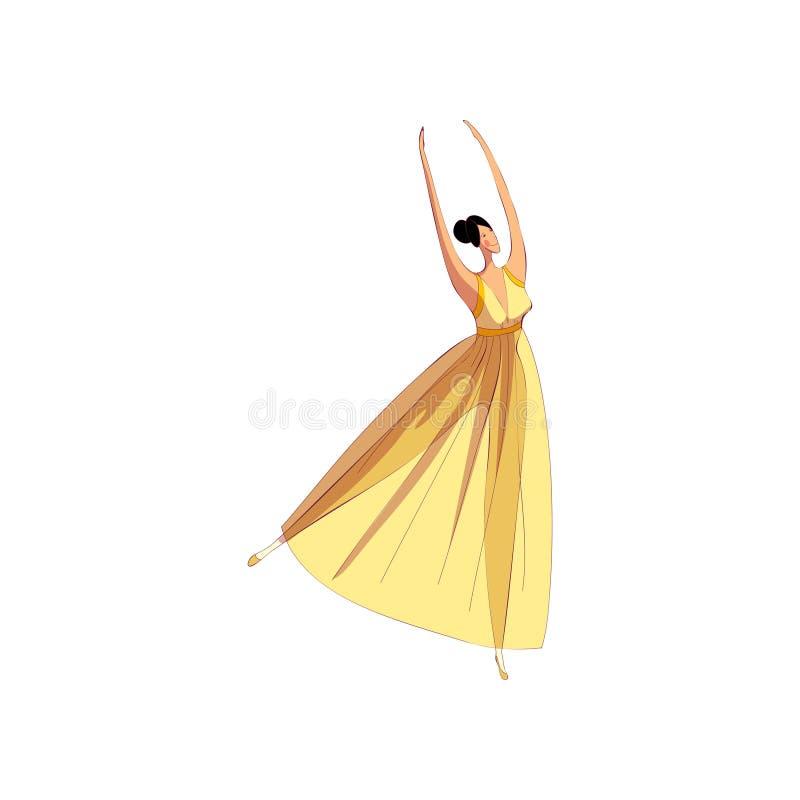 Ballerine gracieuse dans la belle robe exécutant la danse illustration stock