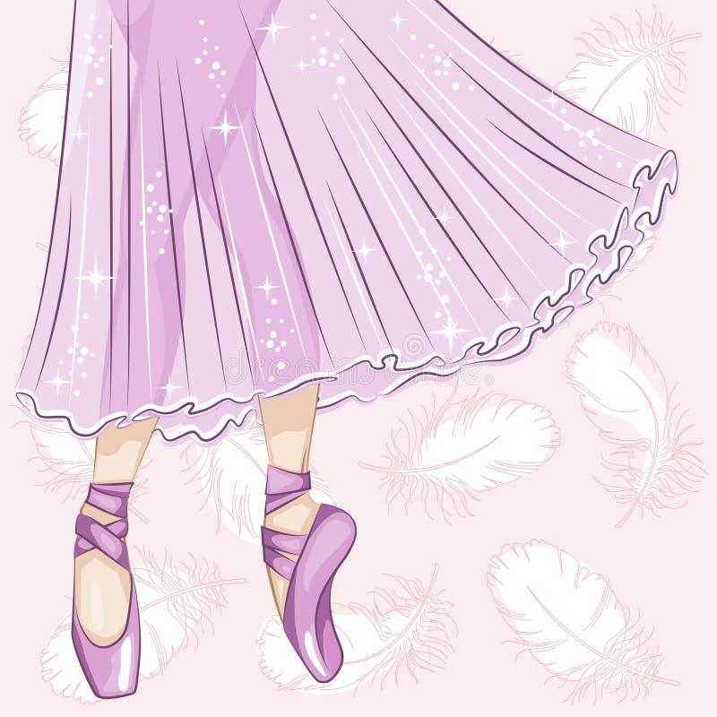 Ballerine Jambes minces dans des pantoufles de ballet illustration libre de droits
