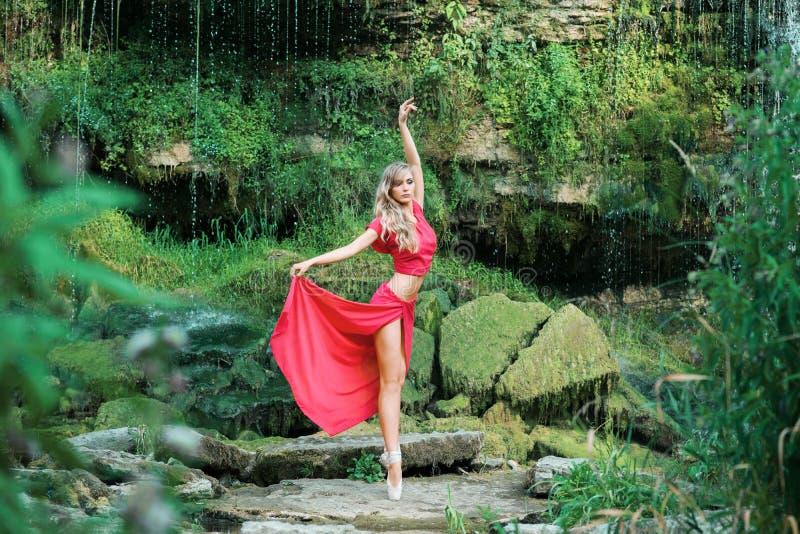 Ballerine magnifique exécutant dehors dans la nature image stock