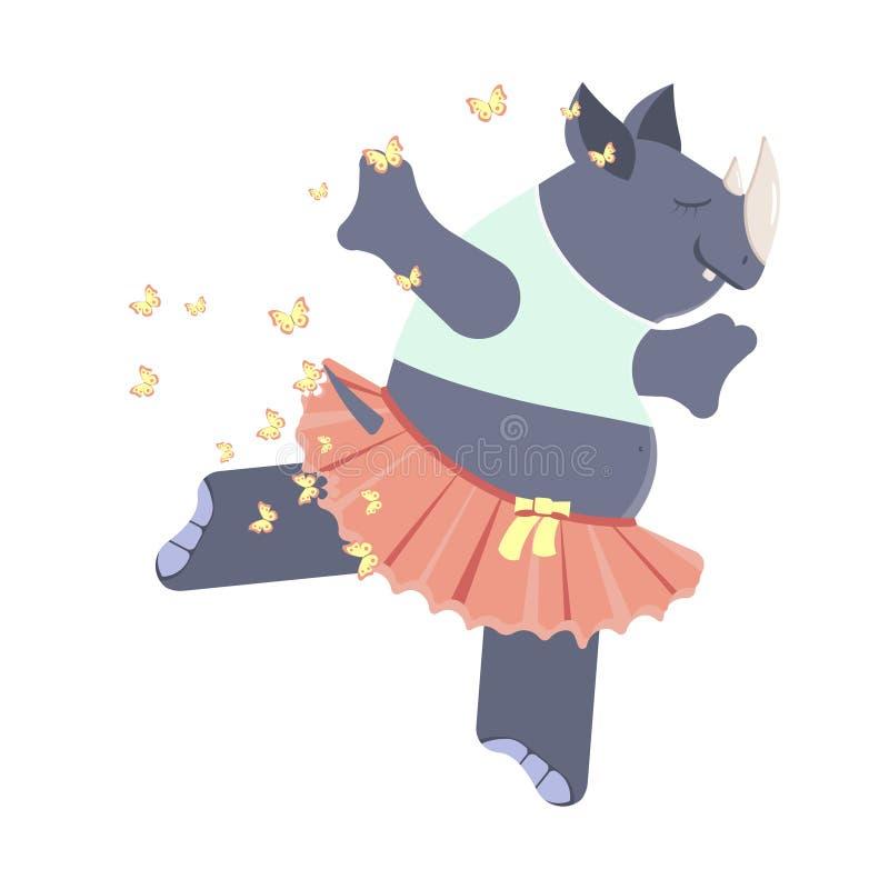 Ballerine mignonne de rhinocéros illustration libre de droits
