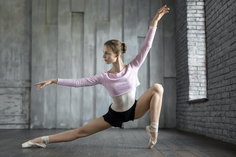 Ballerine posant dans le studio images stock