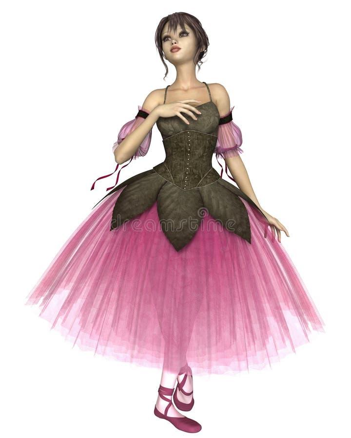 Ballerine rose de fleur dans le tutu romantique illustration de vecteur