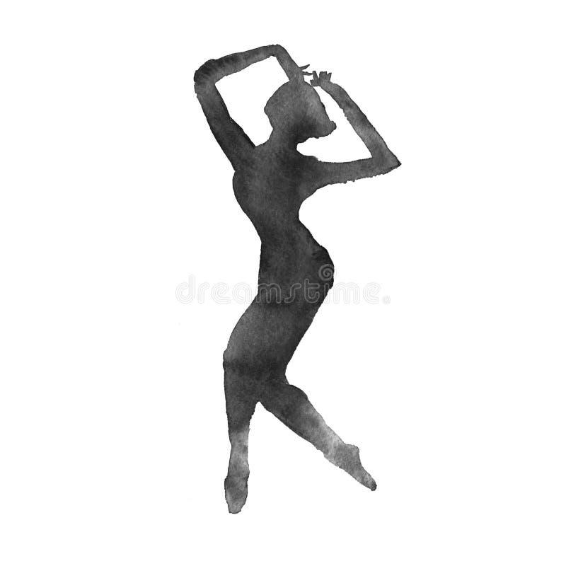 Ballerine Version monochrome watercolor illustration libre de droits