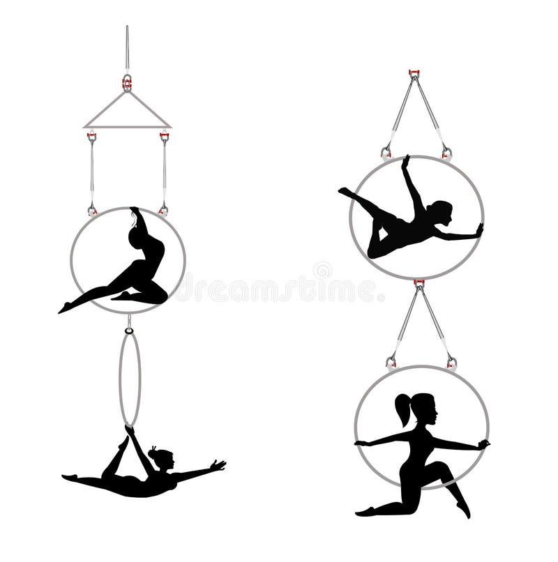 Ballerini aerei in tandem del cerchio illustrazione di stock