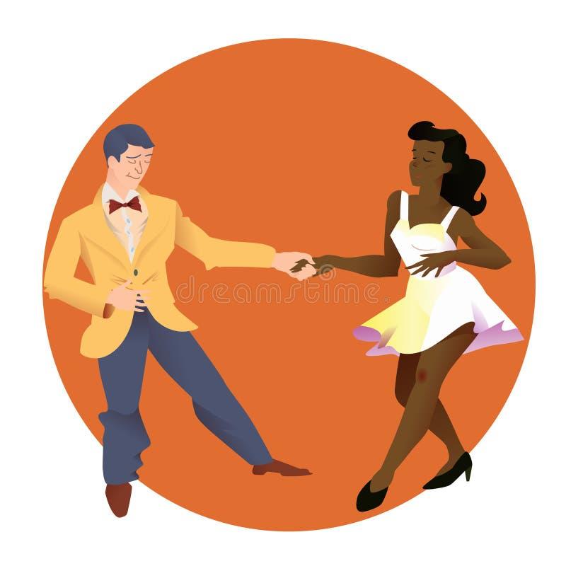 Ballerini di lindy hop L'uomo e la donna delle nazionalità differenti ballano Illustrazione piana di vettore della gente royalty illustrazione gratis