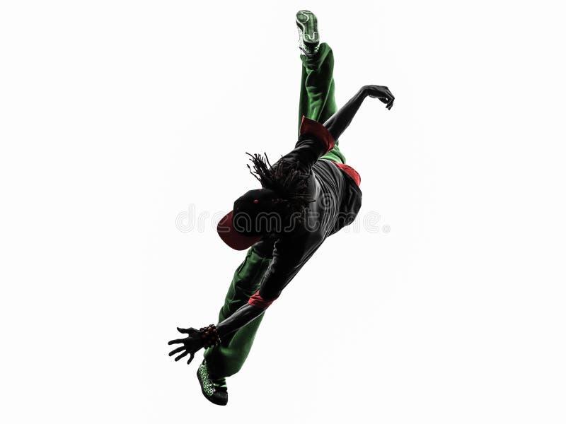Ballerino acrobatico hip-hop della rottura che breakdancing si di salto del giovane fotografia stock libera da diritti
