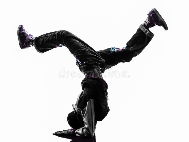 Ballerino acrobatico hip-hop della rottura che breakdancing verticale del giovane immagini stock libere da diritti