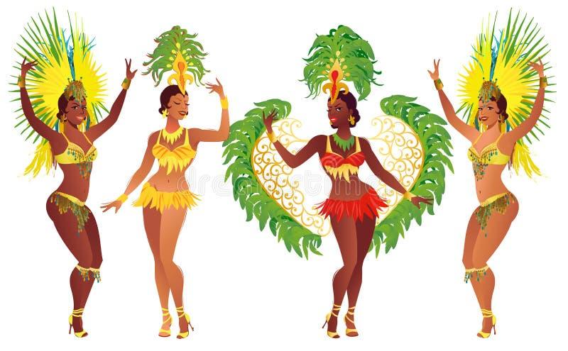 Ballerino brasiliano stabilito della samba La bella ragazza di carnevale di vettore che porta un costume di festival sta ballando royalty illustrazione gratis