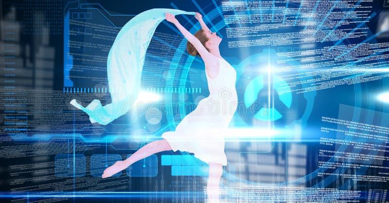 Ballerino che tiene strato blu con l'interfaccia di tecnologia digitale fotografia stock libera da diritti