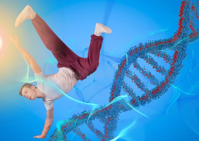 Ballerino con la catena blu e rossa del DNA in un fondo blu e nelle luci blu ed arancio royalty illustrazione gratis