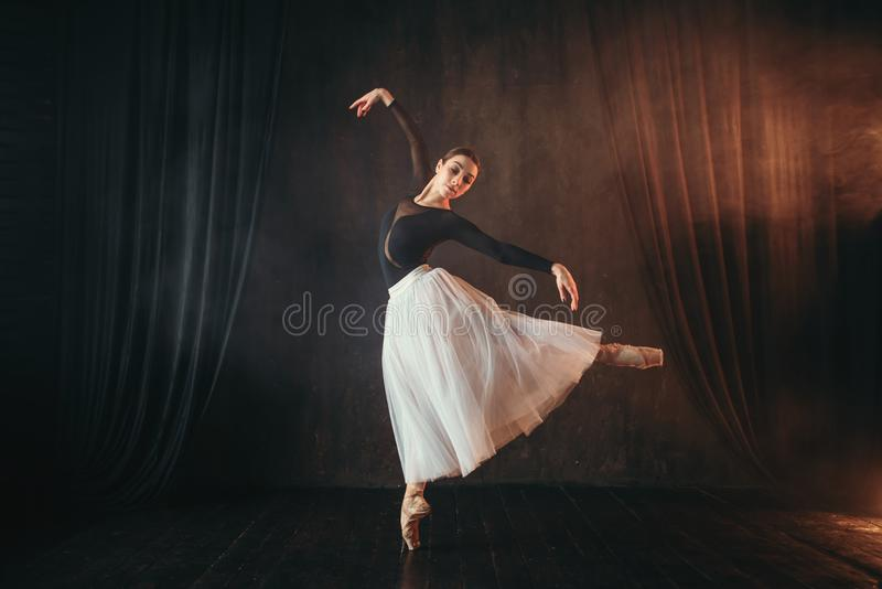 Ballerino di balletto classico nel moto sulla fase fotografie stock libere da diritti