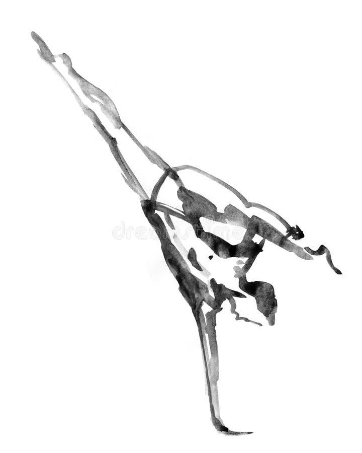 Ballerino di balletto contemporaneo moderno su bianco illustrazione vettoriale
