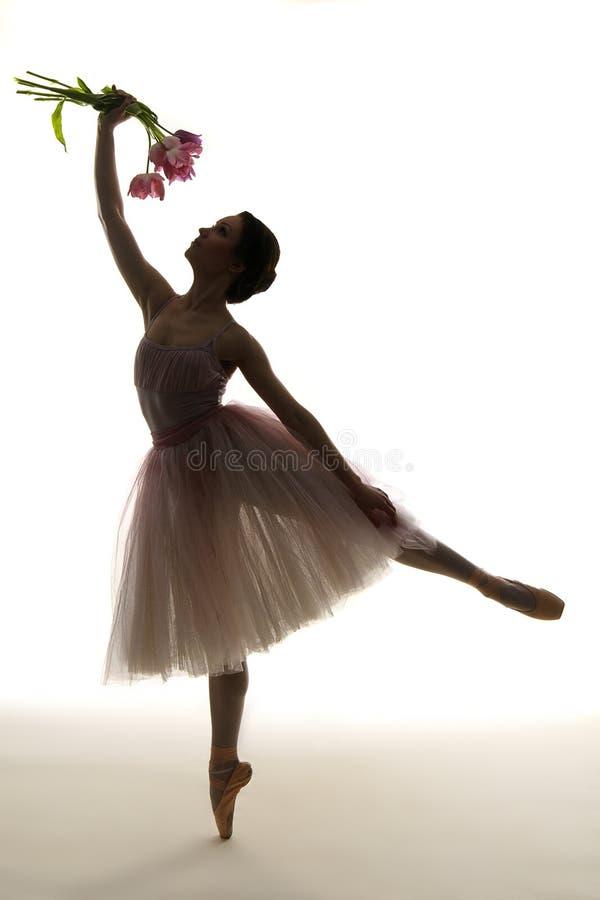 Ballerino di balletto della siluetta fotografia stock