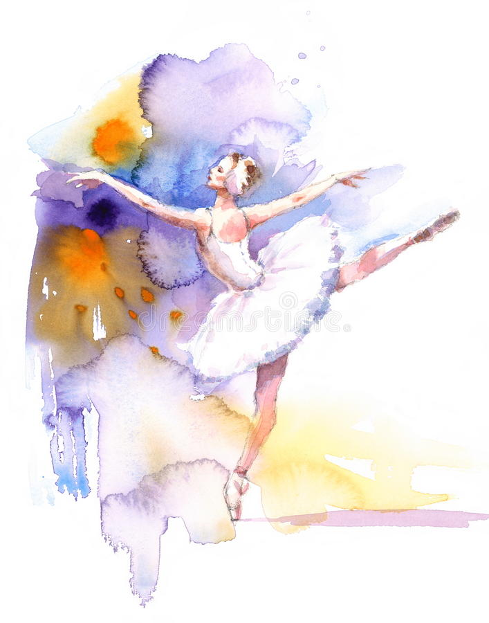 Ballerino di balletto Watercolor Illustration Hand disegnato royalty illustrazione gratis