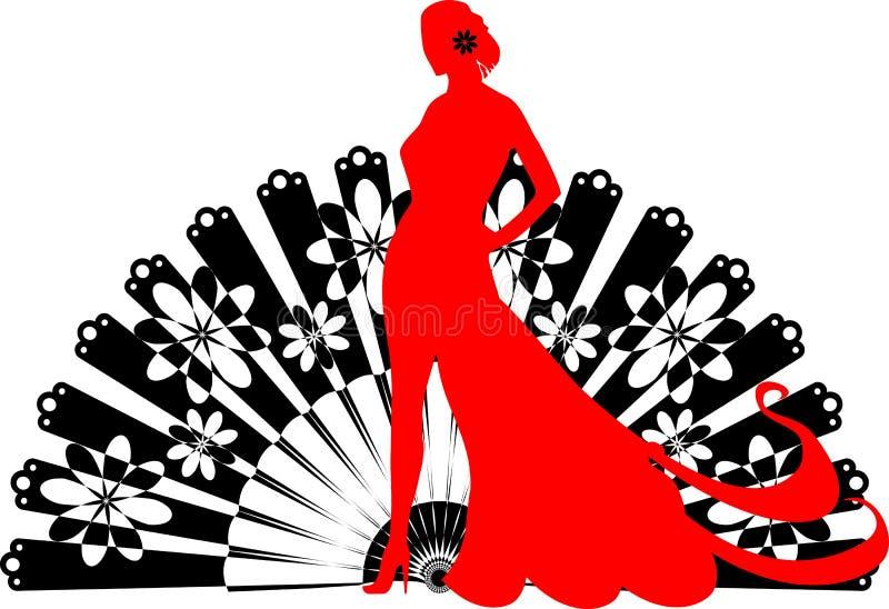 Ballerino di flamenco su un fondo nero del fan illustrazione vettoriale