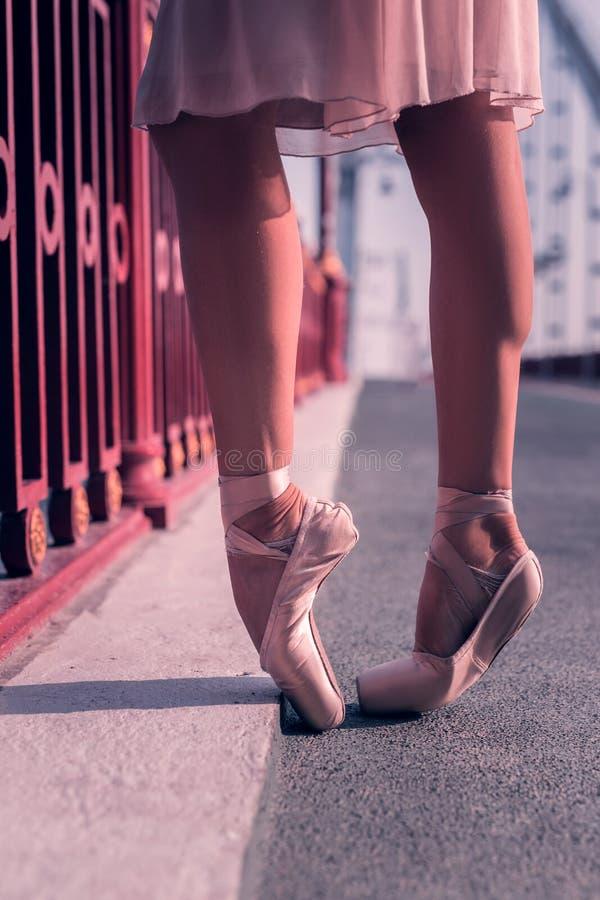 Ballerino femminile professionista che indossa le sue scarpe del pointe immagine stock