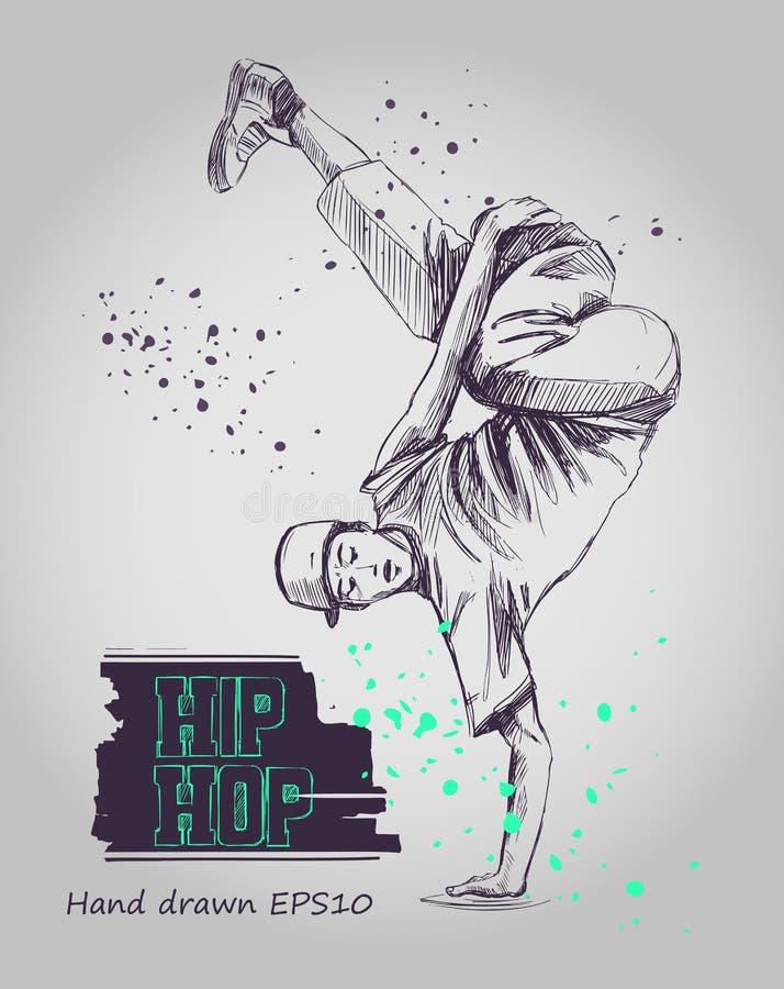 Ballerino hip-hop illustrazione di stock