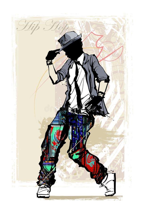 Ballerino hip-hop sul fondo di lerciume illustrazione di stock
