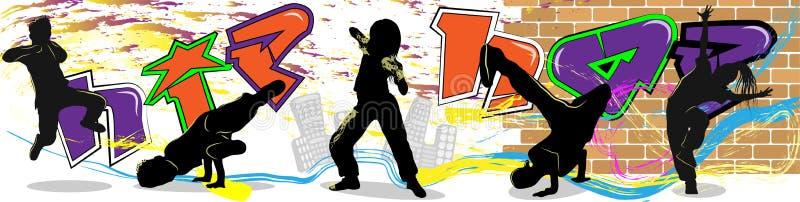 Ballerino hip-hop sulla parete e sul fondo della città illustrazione di stock