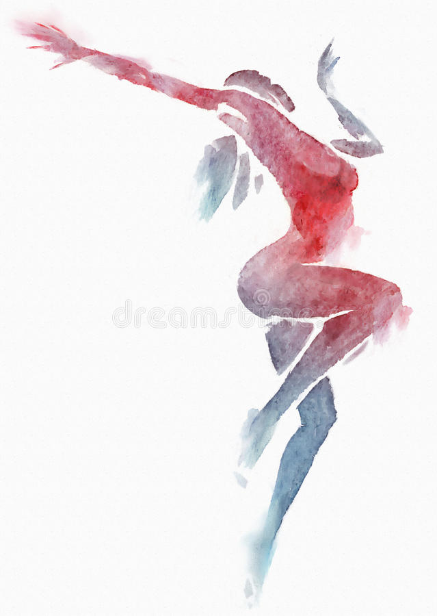Ballerino moderno nudo Red-Blue Watercolor su bianco royalty illustrazione gratis