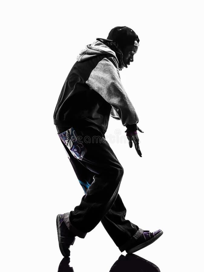 Ballerino moonwalking hip-hop della rottura che breakdancing il silhouet del giovane fotografia stock
