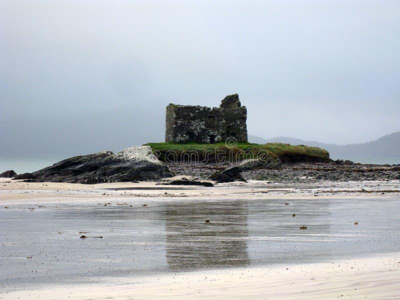 Ballerskelligs城堡,爱尔兰废墟  免版税库存照片