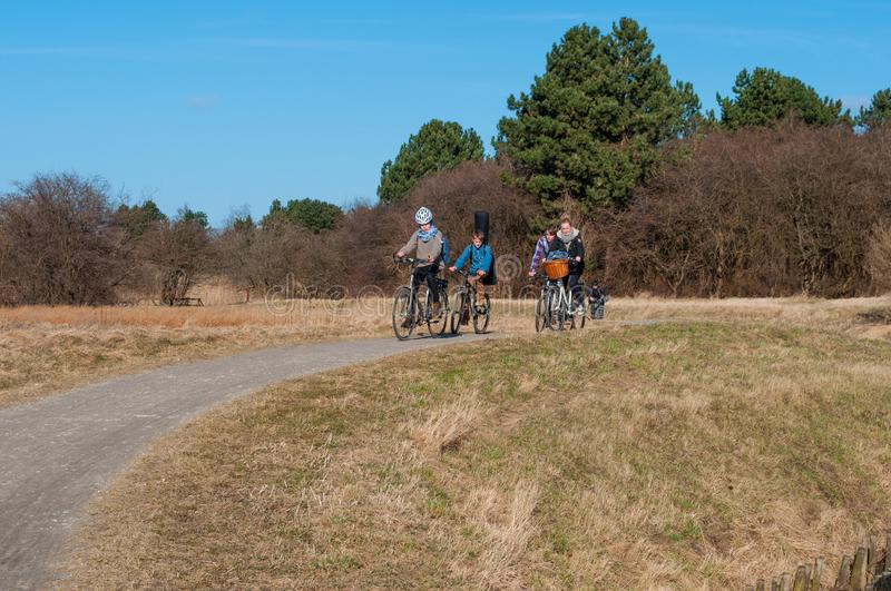 Family bicycling through the Danish Nature stock images