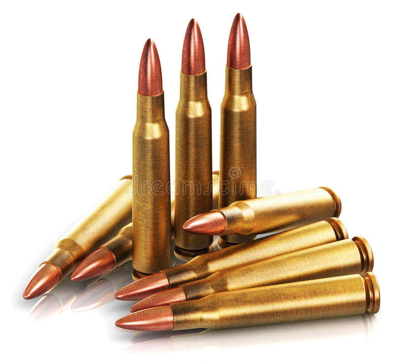 Balles d'arme à feu de fusil illustration libre de droits