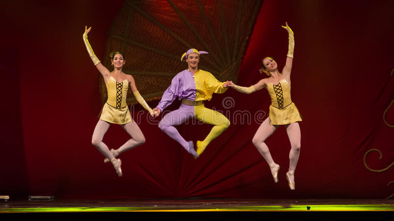 Ballet artists. The artists from National Opera & Ballet Theatre Oleg Danovski during the show for National Day of Spain 2013 organized in Bucharest stock photo