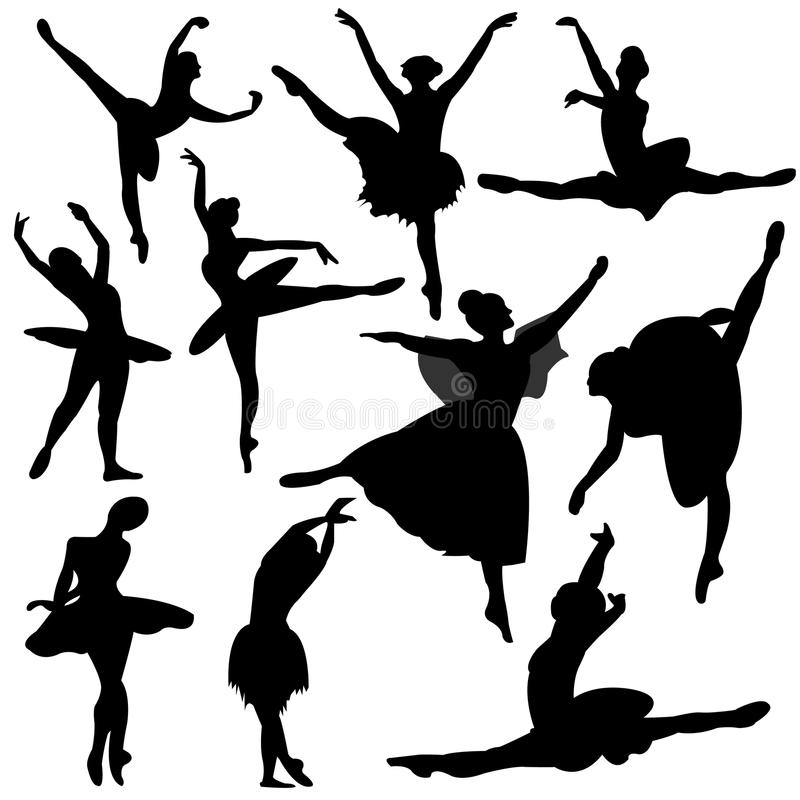 Ballet, ballerinasilhouet royalty-vrije illustratie