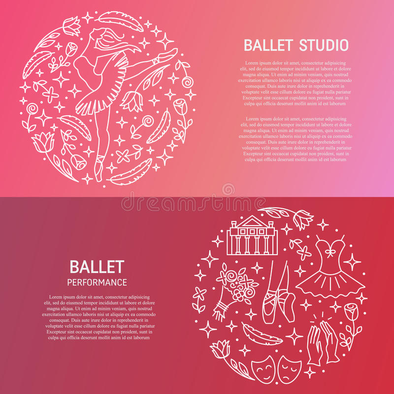 Free Ballet Banners With Circle Emblem Stock Photography - 88842612
